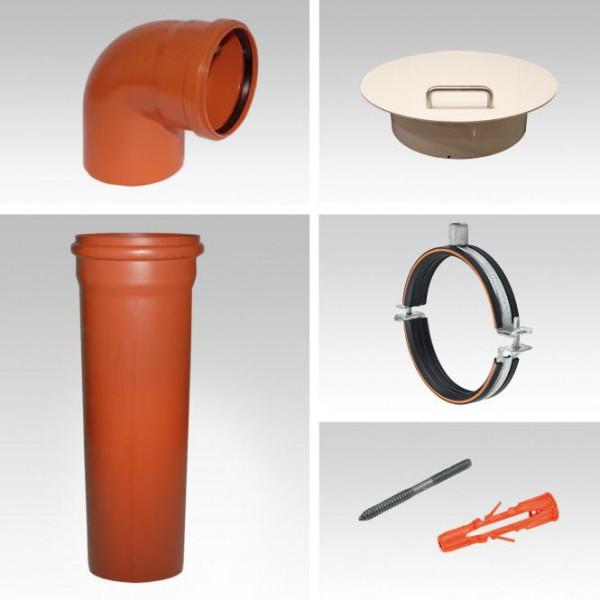 Wäscheabwurfschacht Komplettsystem | 1-fach Einwurf | PVC