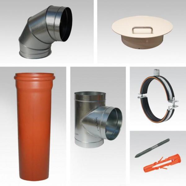 Wäscheabwurfschacht Komplettsystem 2-fach Einwurf PVC Metall