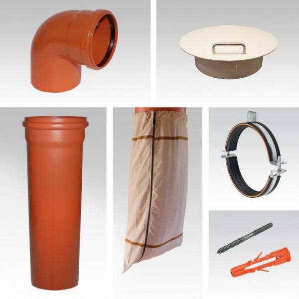 Wäscheabwurfschacht Komplettsystem | 1-fach Einwurf | PVC | Wäscheauffangsack
